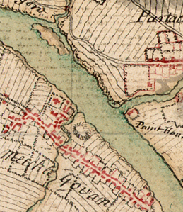 Extract from Roy's Military Survey of Scotland showing Govan in the mid 1700s